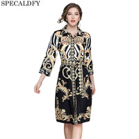 Designer Dresses Runway 2018 High Quality Autumn Casual Shirt Dress Women Turn Down Collar Vintage Dress
