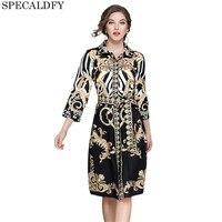 Designer Dresses Runway 2018 High Quality Autumn Casual Shirt Dress Women Turn Down Collar Vintage Dress
