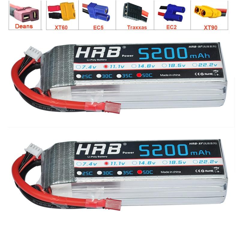 2pcs HRB 3S 5200mAh Lipo Battery 11 1V 50C XT60 XT90 TRX EC5 Connectors T Deans