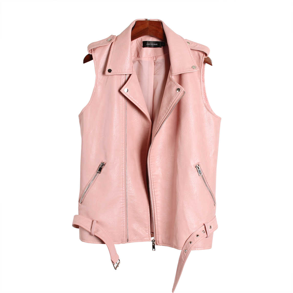 JAZZEVAR 2019 春高ファッションストリート女性の洗浄 Pu レザージャケットジッパー明るい色新レディースベスト 870203