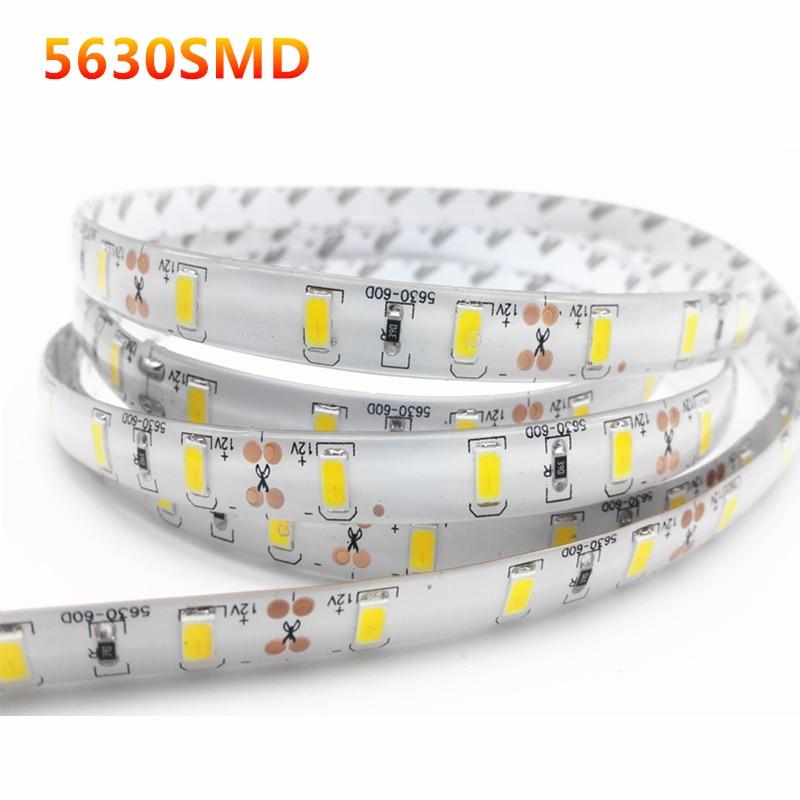 1/2/3/4/5M IP65 Waterproof /No LED Strip Light 5630 SMD DC12V 60Leds/M 5730 Bar Flexible Light Brighter Than 3528 5050 Led Tape