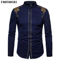 Men Shirt Solid Mens Business Casual Shirts 2018 New Men Brand Clothing Long Sleeve slim Standing collar embroidery Shirt Men