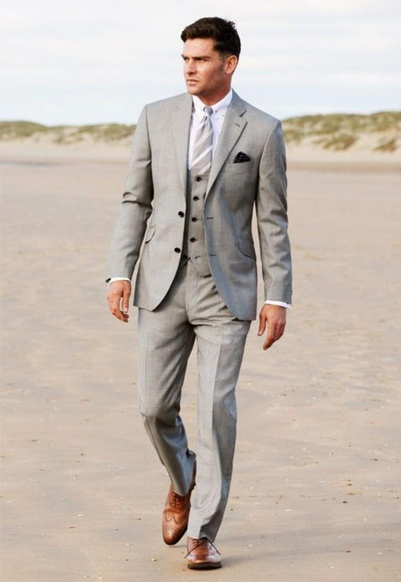 5f571a66e9f 2017 Latest Coat Pant Designs Light Grey Men Suit Beach Terno Slim Fit Suits  3 Piece Skinny Tuxedo Custom Groom Blazer Masculino