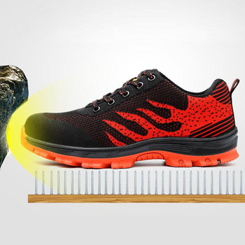 Safety Shoes Cap Steel Toe Safety Shoe Boots For Man Work Shoes Men Breathable Mesh Size 12 Footwear Wear-resistant GXZ005