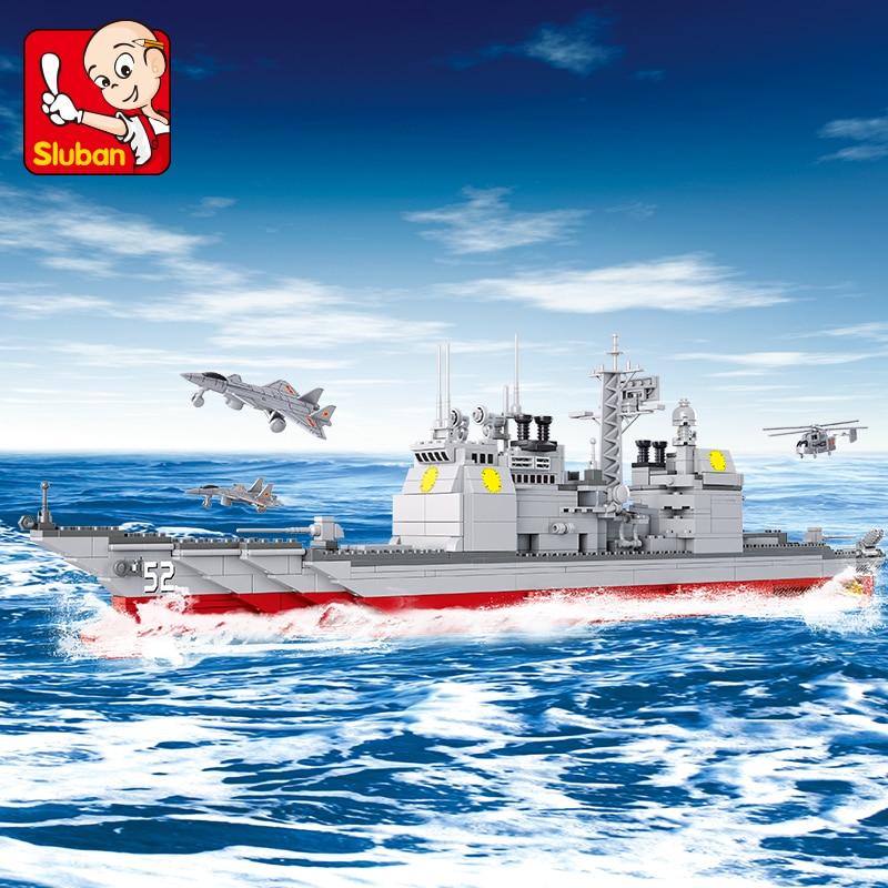 Sluban Building Block WW2 Military Boat Cruiser 883pcs Educational Bricks Toy Boy No retail box