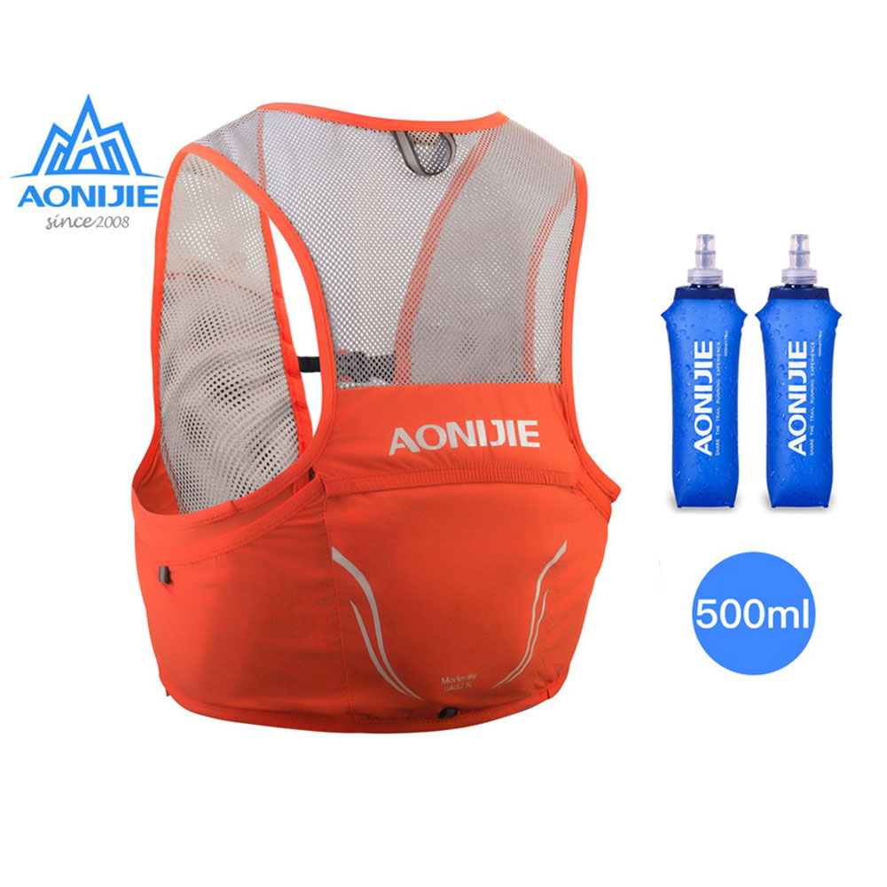 Aonijie Ultralight Backpack Nylon Vest Running Bags Cycling Marathon Portable Hiking Sport Bags 2.5L with 2 500ML Water Bags