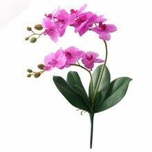 JAROWN искусственный цветок Настоящее прикосновение латекс 2 филиал орхидеи цветы с листьями Свадебные украшения Флорес