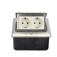 Aluminum Panel EU Standard Pop Up Floor Socket 2 Way Electrical Outlet Modular Combination Customized Available Sockets