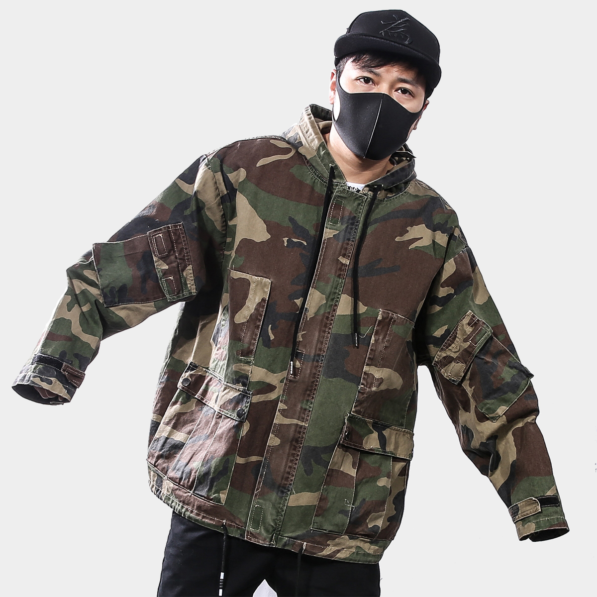 2017 Day High Street Four Seasons New Loose Camouflage Retro Washing Tooling Hooded Jack ...