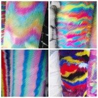 High Quality Rainbow Faux Fur Fabric For Garment Jacquard Faux Fox Fur Fabric Half Meter 0.5 meter