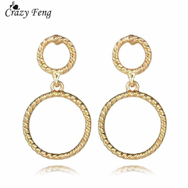 New Fashion Yellow Gold Color Pendant Earrings Women S Jewelry Vintage Double Circle Drop Bridal