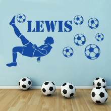 Football Player Personalised Name Custom Wall Decal Vinyl With Footballs Boys Room Stickers Removable Home Decals Z154