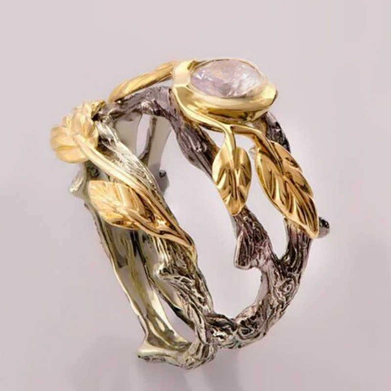 Retro Ancient Silver Rings Gold Leaves Finger Ring Women Vintage Indian Jewelry Branch Vines Stone Rings 2019 Beach Gifts Z3M133
