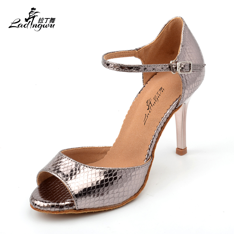 Ladingwu 2018 Wholesale Gray Pu Women's High Heel Shoes Party Ballroom Dance Sandals Salsa Latin Dancing Shoes Silver Heel 8.5cm