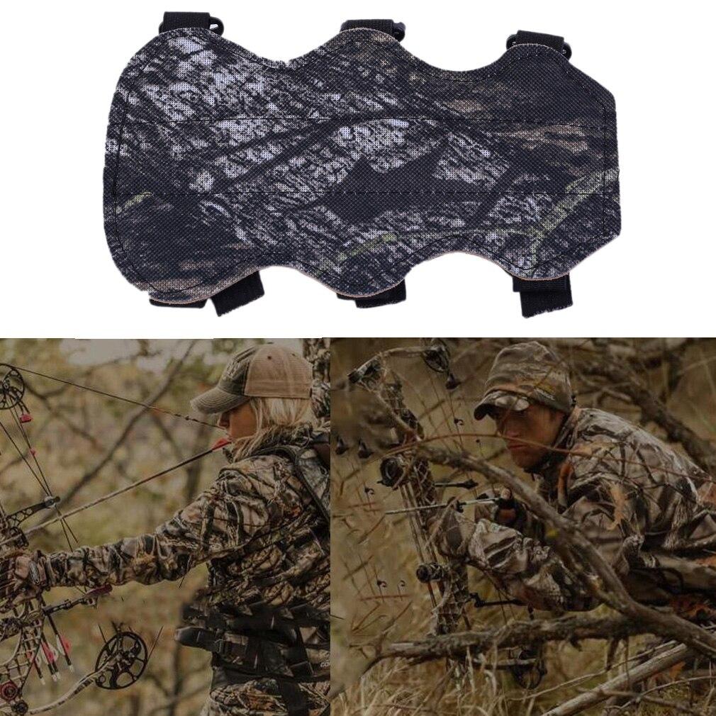 19*10.5cm Archery Bow Arm Guard Protection Forearm Safe 3-Strap Camo PU Leather