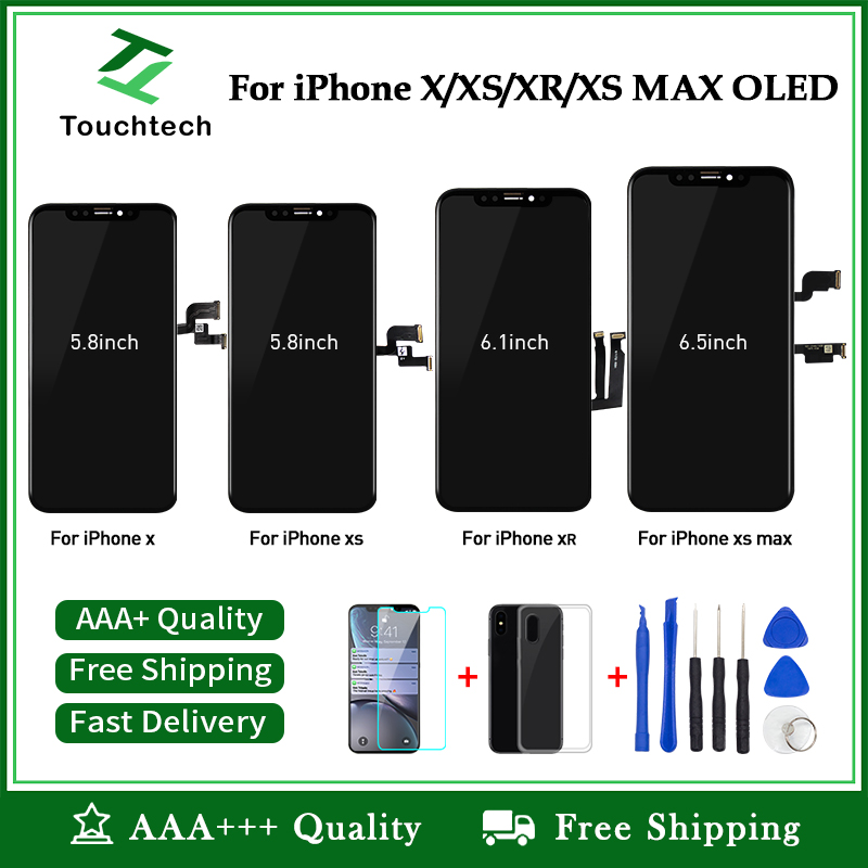 Czarny ekran 100% OEM dla iPhone X XS Max XR XS wyświetlacz LCD OLED wyświetlacz zastępczy z 3D montaż digitizera ekranu dotykowego + prezent w Ekrany LCD do tel. komórkowych od Telefony komórkowe i telekomunikacja na AliExpress - 11.11_Double 11Singles' Day 1