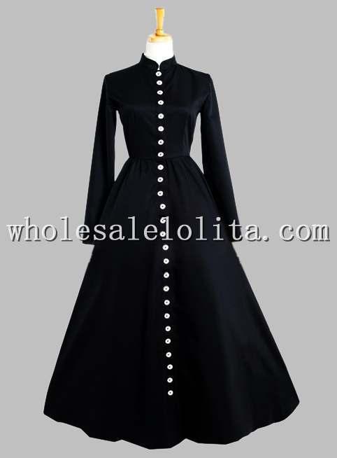 Готический Черный Тайский Шелк Кнопка в Передней Victorian Era Dress - Цвет: Черный