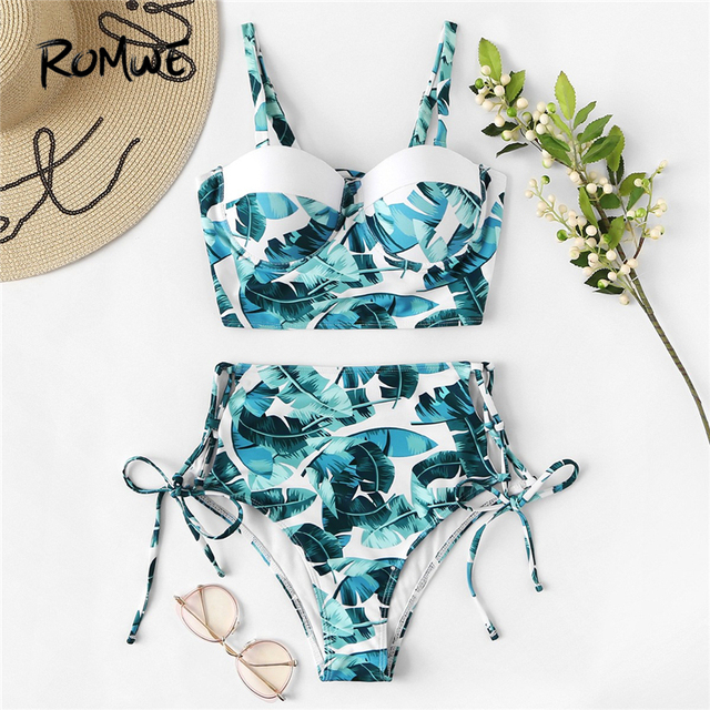 265033943d6c5 Romwe Sport Green Tropical Print Push Up Bikini With High Waist Bottoms  Two-Piece Swimsuits Women Summer Lace Up Back Swimwear