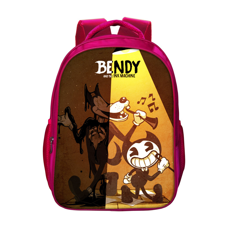 Bendy And The Ink Machine Backpacks For Women 16 Inch Red School Bags Students High Capacity Bookbags Kids Travel Bags Mochila ...