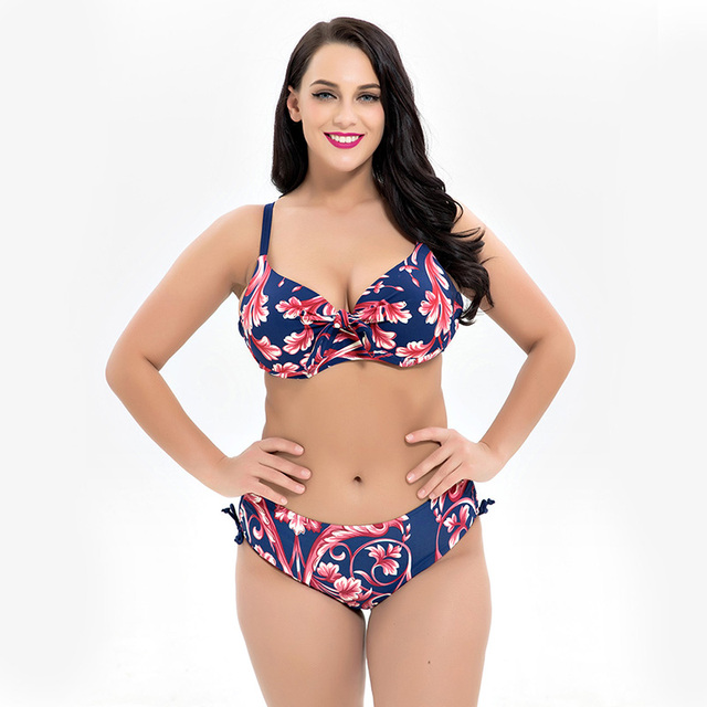 4a07e66f4da 2018 Push Up Bikini Set Plus Size Floral Print Sexy Swimsuit Big Chest Swimsuit  High Waisted