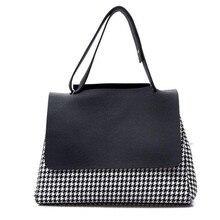 2016 herbst New Brand Design Frauen Handtasche Hahnentritt Tasche Damen Tasche Große Einkaufstasche Schwarz Weiß Naht Umhängetasche
