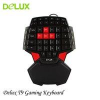 ديلوكس t9 واحد ناحية الألعاب المهنية led الخلفية المزدوجة الفضاء usb السلكية البسيطة المحمولة واحدة اليد لعبة المفاتيح ل pc