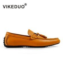 VIKEDUO Марка Ретро Ручной Мужчины Мокасины Gommino Мода Повседневная Стресс Обувь Натуральной Кожи Кисточкой Обувь Ручной Росписью обувь