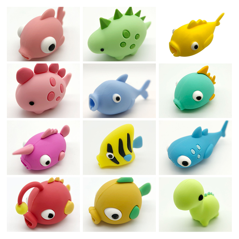 New Cable Bite Dinosaur USB Cable Bite Protector FISH Mobile Phone Organizer Doll Dropshipping Squishy Toy Kabel Diertjes