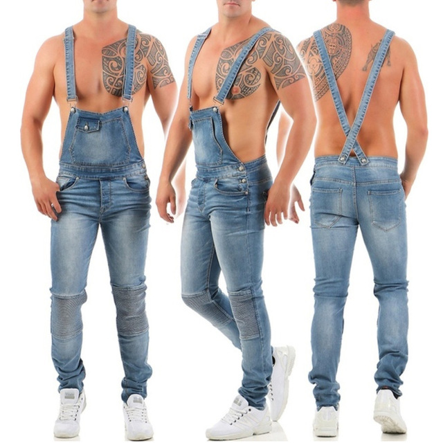 Ripped Jeans Jumpsuit Men Autumn Summer Denim Slim Fit Rompers Fashion Male Pants Blue Washed Overalls Outfits Clothes 2019 New