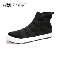 WolfWho New High Top Men Shoes Flats Slip On Casual Shoes Male Canvas Shoes Plimsolls Espadrilles