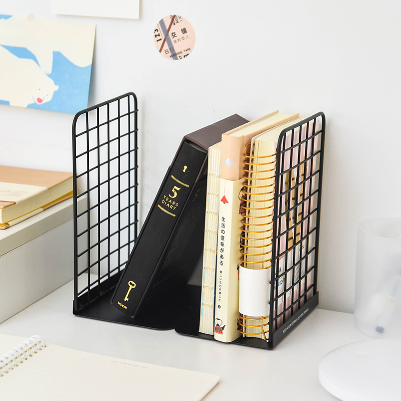 Creative Grid Metal Bookends Standing Desk Organizer Bookshelf Students Book Holder School Office Stationery