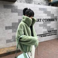Fashion brand fluffy big collar Faux Fur coat female Thicker warm Fox Fur Waistcoat zipper stitching coat with drawstring wq861