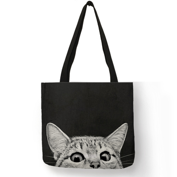 Fabric Travelling Shopping Bags Cute Kitty Cat Printed Tote Bag School Shoulder Bags