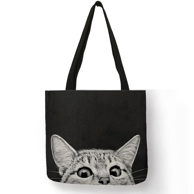 disponibilidad en el reino unido 8d49f 156e0 Bolsos de compras de tela con estampado de gato Lindo bolso de mano para  mujeres personalidad escuela hombro bolsos