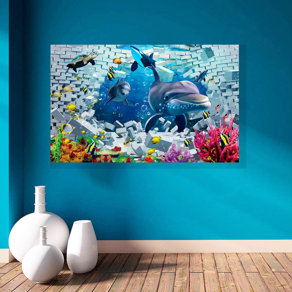 Art deco wall stickers picture more detailed picture about seabed finding nemo ocean world shark fish 3d art wall stickers for kids rooms wallpaper vinyl amipublicfo Choice Image