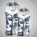 New Winter Fashion Camouflage Jacket Sleeveless Vest  Men Cotton Lovers Thick Wool Hooded Men Warm Thick Vest 3 Colors Whalesale
