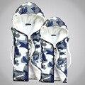 Nova Moda Inverno Amantes Jaqueta Camuflada Homens Sem Mangas Colete de Algodão Dos Homens Quentes de Lã Grossa Com Capuz Colete Grosso 3 Cores Whalesale