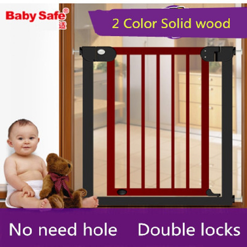 Baby safe gate stair gate Door Stop Baby Gate 76~83cm Wood Safety Gate Children Security Baby Fences Pet Stairs Fence the ivory white european super suction wall mounted gate unique smoke door