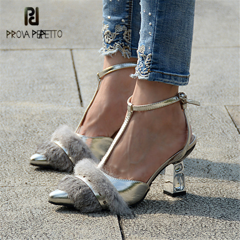 Prova Perfetto Rabbit Fur Women Gladiator Sandals Pointed Toe High Heels Rhinestone T-Strap Sandalias Mujer Women Pumps Stiletto prova perfetto women lace up gladiator sandals chunky high heels hollow out women platform pumps sandalias mujer stiletto