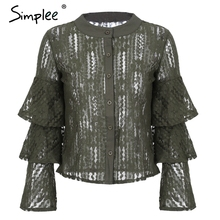 Simplee Sexy hollow out tiered flare sleeve lace blouse shirt Women ruffle blouses casual Transparent o neck floral mesh blouse