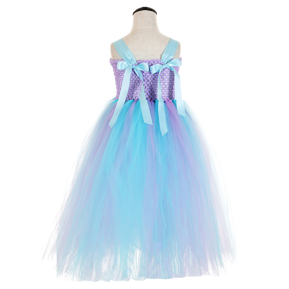Elegant Purple Top Blue Mesh Tulle Tutu Dress Princess Kids Unicorn Lol Dress for Girl Ankle Length Flower Girls Dresses Age 13 (5)