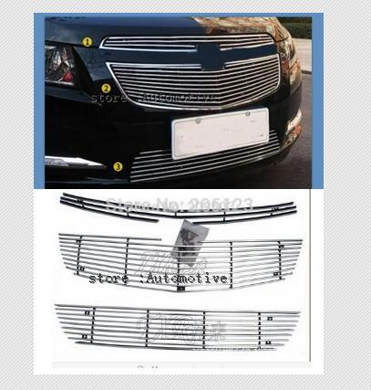 For  2009-2013 for   Chevrolet Cruze modified metal grid overlay front racing grills trim 3pcs
