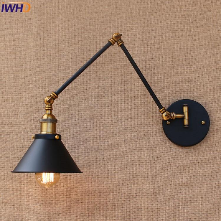Loft Industrial adjustable long swing arm Wall lamp For Home Vintage E27 Edison bulb Light Fixtures wandlamp lamparas de pared loft retro industrial two section swing arm metal wall lamp fixture wandlamp industrieel lampara de pared espejos bano