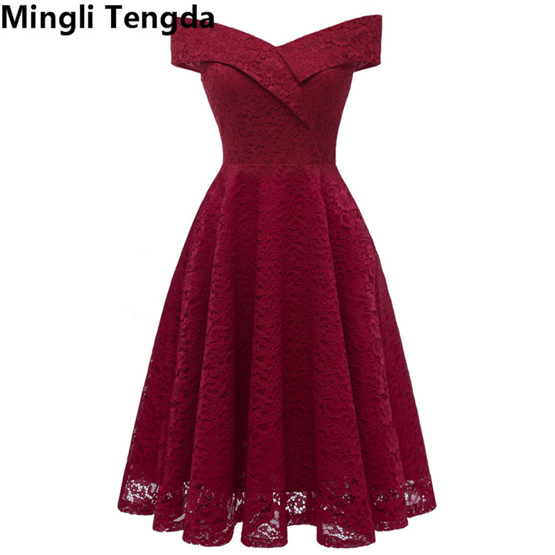 2018 Red   Bridesmaid     Dresses   Short   Dresses   for Wedding Party Formal   Dress   Women   Bridesmaid     Dresses   Boat Neck Mingli Tengda
