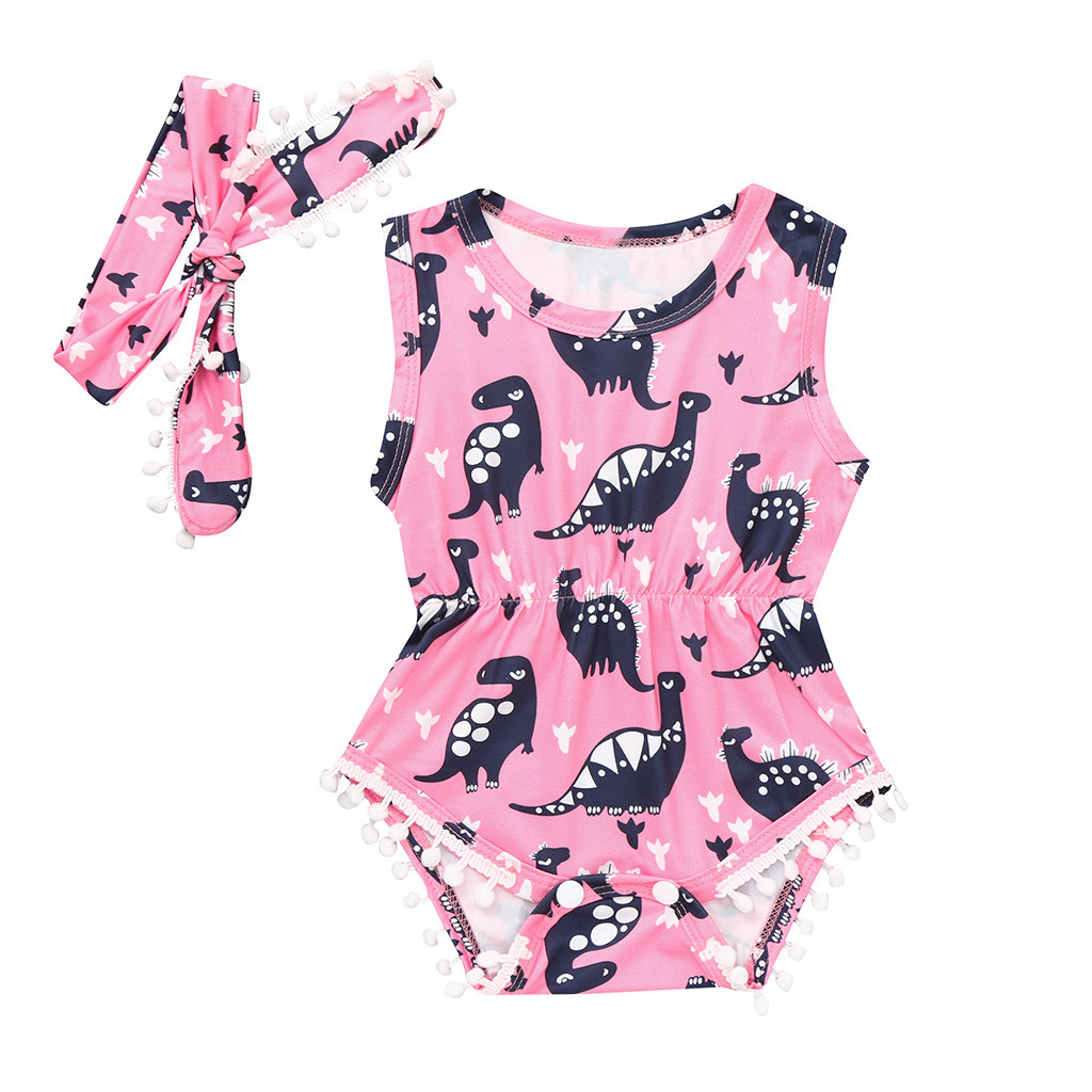 2019 New infant   romper   Sleeveless Jumpsuit Baby meisje Dinosaur Print Jumpsuit   Romper   Sunsuit+Headband Outfits Set