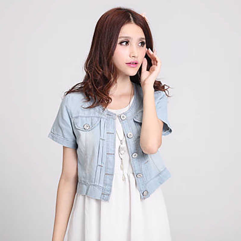 f431d43b3 2019 New Ladies Denim Jackets Slim Fit Jeans Coat Classical Jackets Coats  Short Sleeve Summer Casual Female Jackets Women S-3XL