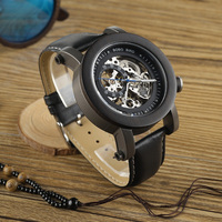 BOBO BIRD Brand Black Wooden Mechanical Watches Men Watch With Genuine Leather Strap Watches For Men