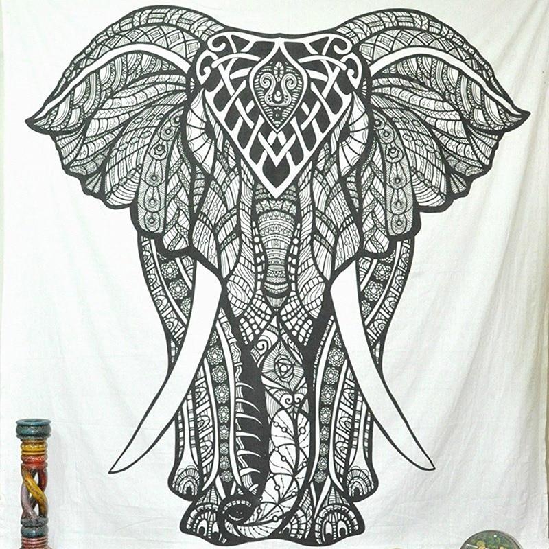elefante mandala tapiz blanco y negro tapiz animal pared
