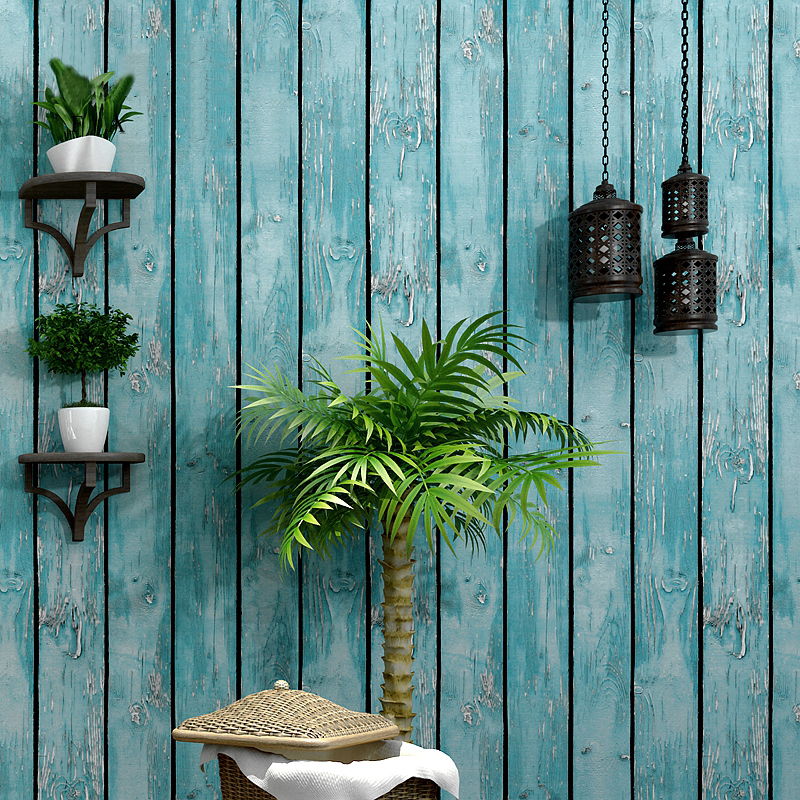 Mediterranean Imitation Wood Board 3D Wallpaper Living Room Cafe Restaurant Fashion Backdrop Wall Decor PVC Waterproof Wallpaper
