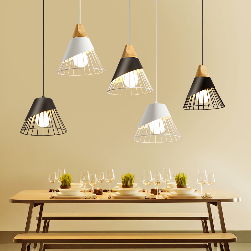 Modern simple dining room chandelier Nordic bedroom bar chandelier personality dining room single head lamp scene nordic creative bar minimalist dining room bedroom retro american single head wood japanese clothing store chandelier